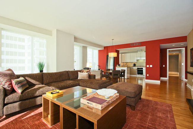red accent wall, accent wall, interior design, san francisco interior design, high-rise, custom furniture,