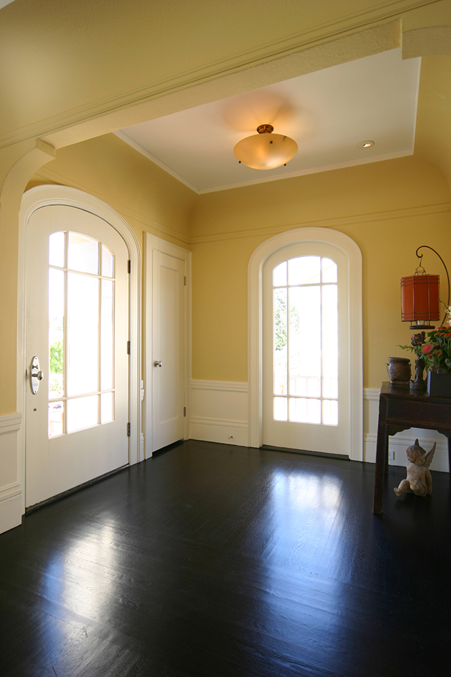 French Doors, Contemporary Entry, bright color accent, yellow accent, modern interior design, Dark hardwood floors, entry console