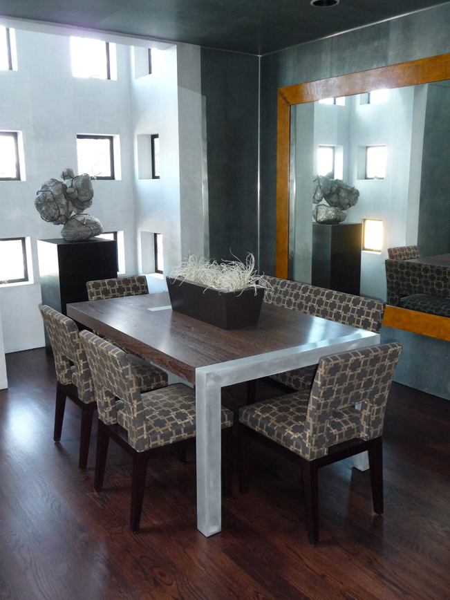 Contemporary dining room, ocncrete table, concrete and wood table, blue accent, modern interior design, modern art, custom furniture, San Francisco Interior Design