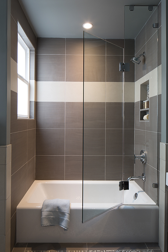 Cole Valley, Cole St., San Francisco Interior Design, Interior Architecture, contemporary bathroom, Guest bathroom, modern vanity, contemporary vanity, powder room, mosaic tile pattern, glass shower door, Bathtub